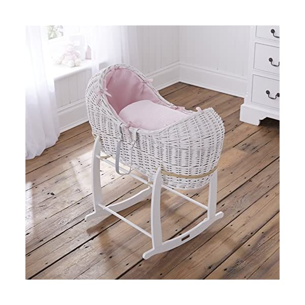 Waffle White Wicker Noah Pod - Pink  A contemporary Moses basket design exclusive to Clair de Lune that creates a cocooned & calming sleeping space for baby. Comes complete with padded liner, delicately embroidered 2.0 tog coverlet and mattress. Dressings are made from super soft and breathable Waffle cotton fabrics. 2