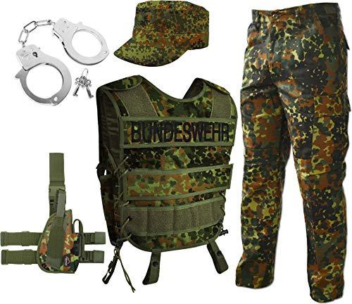 normani Bundeswehr Kostüm für Damen und Herren - Unisex [S-3XL] - bestehend aus Weste mit Patch, BDU Hose, Ripstop Cap, Handschellen (rechts oder Links wählbar) Army, Flecktarn Größe XL/Rechts