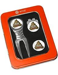 Unisex Emoji caca arreglapiques, enganche para gorra y marcador de pelotas de Set de regalo, color naranja