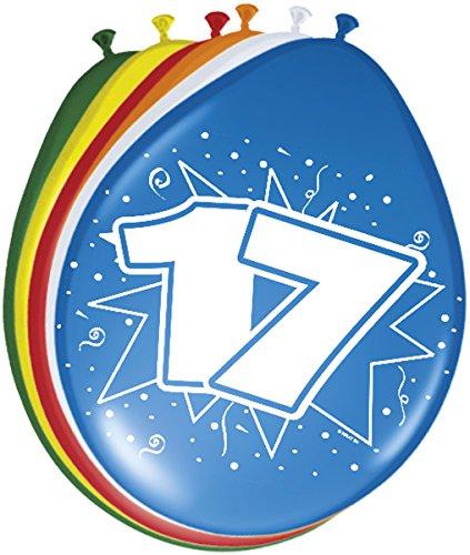 Folat 08219 17. Geburtstag Ballons 30 cm-8 Stück, Mehrfarbig (Ballons 17 Geburtstag)