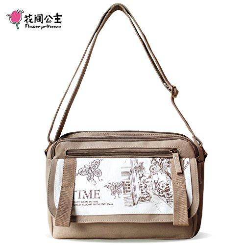 Toile de broderie originale littéraire ressort en nylon bandoulière sac à bandoulière unique portable Khaki