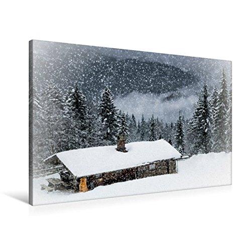 Calvendo Premium Textil-Leinwand 90 cm x 60 cm Quer, Wintermärchen HEMMERSUPPENALM II (weiß) | Wandbild, Bild auf Keilrahmen, Fertigbild auf Echter Leinwand. Almhütte im Schneegestöber Natur Natur