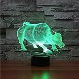 Ahat Romantische 3D Led Illusion Tisch Schreibtisch Deko Lampe 7 Farben ändern Nacht Licht für Schlafzimmer Home Decoration, Hochzeit, Geburtstag, Weihnachten und Valentine Geschenk(Wall Street Bull)