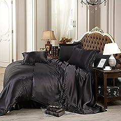 Idea Regalo - Biancheria da letto Set di biancheria da letto pieghevole a 4 pezzi Seta imitazione nera pura , 2.0m