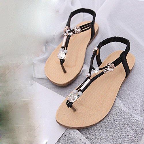 Vovotrade Femmes Sandales Bohemia Boucles de Cheville Flops Chaussures Plates d'été Chaussures Femme Décoration Perle Noir