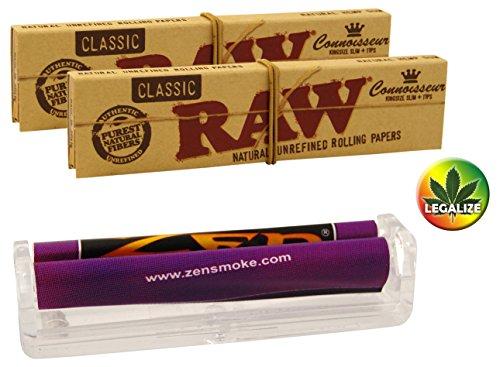 Kiffer Set 3tlg.: Zen konische Drehmaschine 110mm Jointroller - 2x RAW Connoisseur KS Papers inkl. Tips - Rasta-Button bunt 25mm