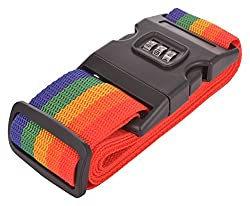 Ruff Travel Safety Nylon Strength Travel Belt Luggage Strap with Combination Lock - Rainbow Color - 1 pc