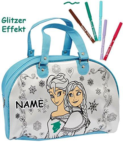 """Malset / Bastelset zum Bemalen - große Tasche - """" Disney die Eiskönigin - Frozen """" - Henkeltasche / Tragetasche - abwischbar + beschichtet + mit 5 Textilstifte - Sporttasche / Reisetasche / Weekender"""