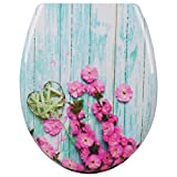 WOLTU WS2478 Bathroom Washroom Restroom High Quality Duroplast Toilet Seat Cover Lid Loo Lavatory Seat with Zinc Slow Soft Close Hinge and Wood Flower Pattern