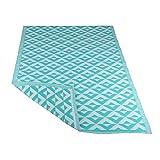 RM Design In- & Outdoor Teppich für Terrasse/Balkon Türkis Rautenmuster Muster 120 x 180 cm