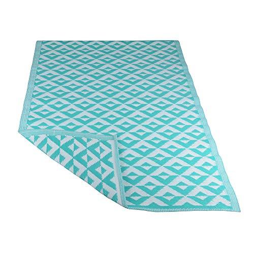 RM Design Indoor & Outdoor Teppich für Terrasse, Balkon & Haus, Türkis mit Rautenmuster, 90 x 180 cm