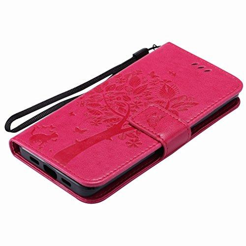 Custodia Xiaomi Mi 5 Cover Case, Ougger Fortunato Foglia Stampa Portafoglio PU Pelle Magnetico Stand Morbido Silicone Flip Bumper Protettivo Gomma Shell Borsa Custodie con Slot per Schede (Oro) Rosa