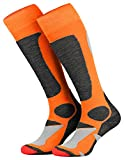 Piarini 2 Paar Unisex Skisocken Skistrumpf Herren, Damen und Kinder für Wintersport, Snowboard atmungsaktive Knie-Strümpfe Farbe Orange Gr.47-50