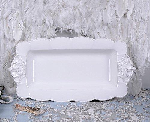 Kuchenplatte Weiss Schale Shabby Chic Porzellanschale Servierplatte