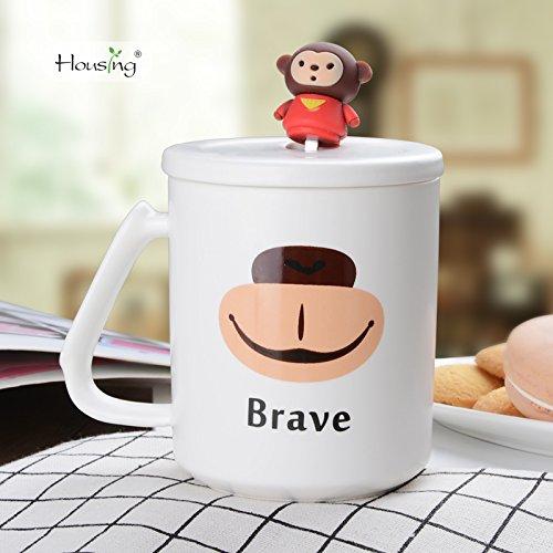 Mocer creative tasse mug en céramique personnalité funny animal tasse mignon dessin animé de football coréen pour le visage expression tasse avec cuillère