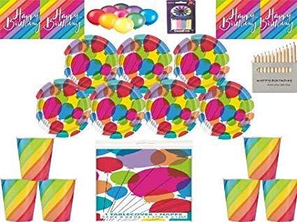 Rainbow Balloons Alles Gute zum Geburtstag Dekorationen-Rainbow Teller Tassen Servietten Tischdecke Kostenlose Ballonpackung für 16 Gäste (Teller Rainbow Servietten Und)