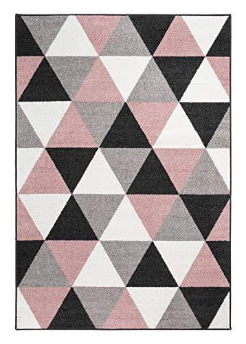 andiamo Teppich Salamanca Kunstfaser Skandinavisch Geometrisch Pflegeleicht, Größe:160 x 235 cm, Farbe:Altrosa-grau -