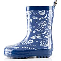 Outee Boys Kids Toddler Wellies Wellingtons Rain Boots Waterproof Rubber Boots Children Starship Cosmos Rear Puller Cute Design (Size 8,Blue)