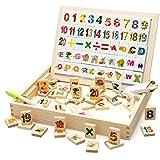 Multi Fonction Maths Peinture ABC Early Learning Education Boîte en bois avec nombre magnétique et blocs de lettre sur planche à dessin aimant