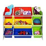 Songmics XL spielzeug regal Kinderregal Kinderzimmerregal mit Kippschutz 86 cm lang inkl. 3 große + 6 kleine Kästen GKR02W - 3