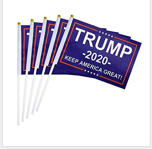 Nationen Kostüm Aller - Homeng 25 Stück Flagge von Donald Trump, 2020 Flagge, amerikanische Flagge, Nationalflagge, Nationalflagge, amerikanische US, Handheld Mini-Flagge, mit weißem solidem Stab