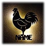 Hahn Hühner Henne Wandbild Led Lampe Nachtlicht mit Personalisierung I Optional farbig
