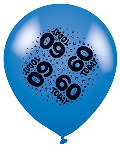 Pack of 8 Multicoloured 60th Birthday Party Balloons - Air or Helium Fill - 60 Today