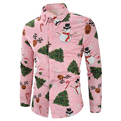 CharMma Herren Hemd Weihnachten Thema Knöpfbar Langarm Stehkragen Shirt (Pink 2, M)