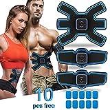 ShuBel Ceinture Abdominale Electrostimulation Muscler Homme Femme, Chargé par USB Version Améliorée EMS Stimulateur Musculaire avec 10 Coussinets de Gel