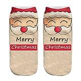 UJUNAOR Herren Damen Kurzarm Socken Christmas 3D Gedruckt Warme Winter Niedrige Socke(G,One Size)