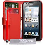 Yousave Accessories Huawei Ascend Y530 Tasche Rot PU Leder Brieftasche Hülle Mit Griffel Stift