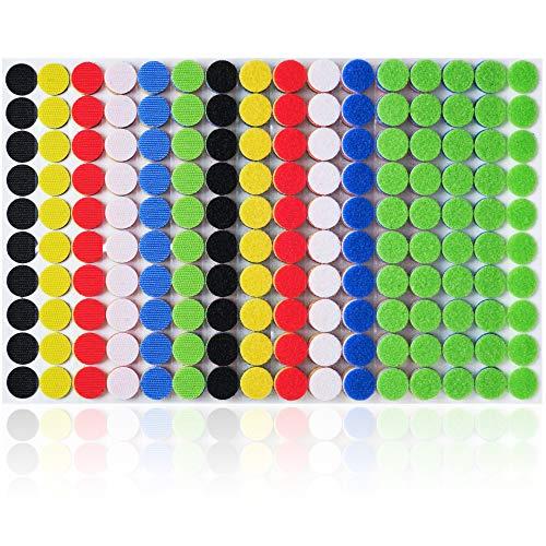 300 Paar (600 Stück) |Farbige Hacken und Schleifeepunkte für die tägliche repetitive Befestigung |Durchmesser ¾