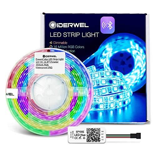GIDERWEL Luces de tira direccionables del RGB LED del control de la aplicación de Bluetooth,Luz de tiras flexible impermeable DreamColor LED de 5 m para control de teléfonos inteligentes