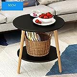 Tavolino rotondo in legno massello Tavolino angolare moderno da salotto Tavolino da salotto 50 * 40 * 49cm ( Colore : Nero )