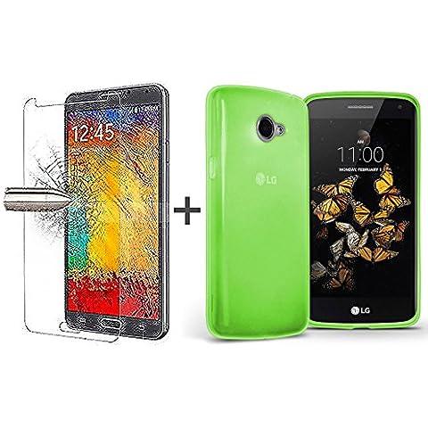 TBOC® Pack: Funda de Gel TPU Verde + Protector Pantalla Vidrio Templado para LG K5 (X220). Funda de Silicona Ultrafina y Flexible. Protector de pantalla Resistente a Golpes, Caídas y Arañazos.