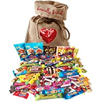 The Best of British Retro Sweets 1.2kg more than 100 pieces Assortment by The Yummy Palette |Wine Gums Fizz Wizz Jawbreaker Black Jack and more in Basically British Jute Gift Bag LIMITED EDITION Sequin Heart Design with a gift tag