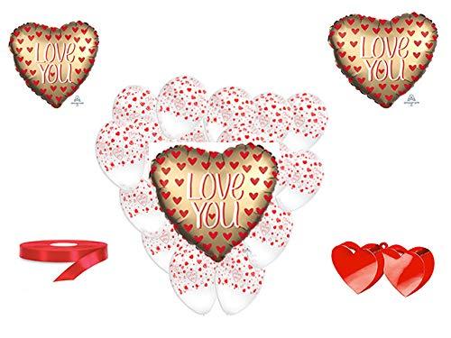 San valentino pallone foil cuore supershape forma cuore kit bouquet centrotavola festa amore innamorati - cdc - (1 pallone foil cuore satinato i love you,10 palloncini, 1 pesetto,1 nastro rosso )