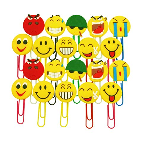 JZK 20 x Emoticon emoji segnalibri bambini graffette decorative idea bomboniera pensierino regalino gadget dopo festa compleanno bambini
