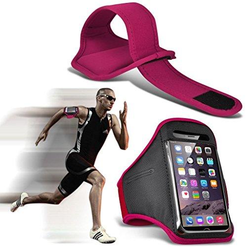 I-Sonite (Hot Pink) Einstellbare Sweatproof/Water Resistent Sport Fitness Laufen Radfahren Gym Armband Telefon Fall Für Plum Phantom 2 [ XXL]