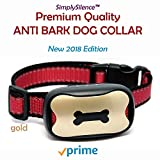 Anti Bark Training Dog Collar - by Simply Silence - New Barking Collar Sound & Vibration, No Shock, 7 Sensitivity Levels! No Bark Collar for Small, Medium & Large Dogs. Water Resistant. (Gold & Red)