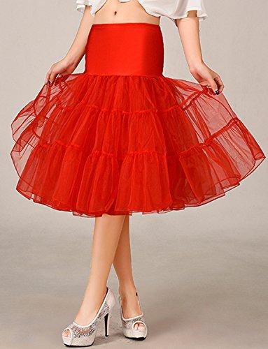 BeiQianE Damen 1950er Jahre Vintage Petticoat Knie-Länge Tutu Rock Unterrock Half Slips Krinoline für Hochzeit Rot