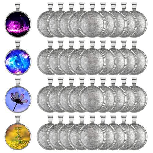 baotongle 40 Stück Anhänger Lünette Silber überzogene Runde Tabletts ,25mm Durchmesser für Basteln DIY Schmuck Geschenk Machen -