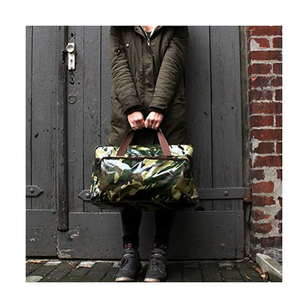 Weekender bag for gym, travel and fitness, waterproof, oilcloth, handmade, vintage pattern Camouflage Army - handmade-bags