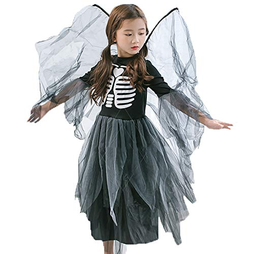 Kostüm Nettes Mädchen Vampir - AUED Halloween Kostüm Kinder Mädchen Hexe Langer Rock Hexe Vampir Kleid Kindergarten Nette Prinzessin Kleid Maskerade Flügelrock Cosplay Party,S