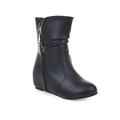Womens Zipper Thread Pull-On Imitated Leather Boots
