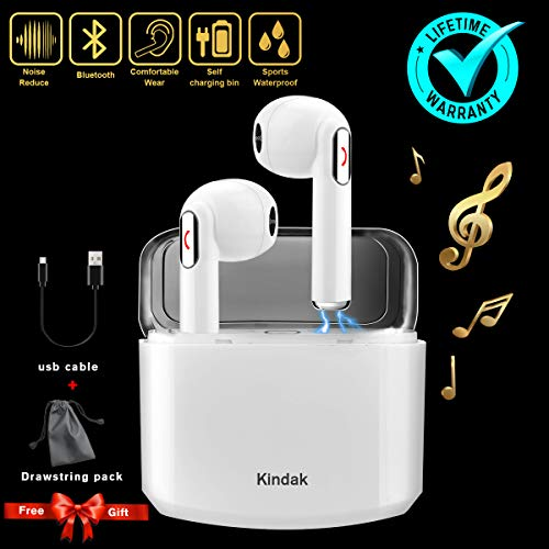 Inalámbricos Auriculares Bluetooth,Wireless Deportivos Running In-ear Cascos Earbuds Auriculares con Micrófonos Manos libres Cancelacion Ruido Lightning Caja de Carga Headset,Blanco Mini Estéreo Headphone Earpods Compatible para Apple IOS Android Sony Samsung iphone X 6 7 8S plus Huawei Móviles Smartphones