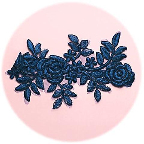 Slocyclub Women's Oversized Navy Blue Lace Embroidery Bridal Wedding