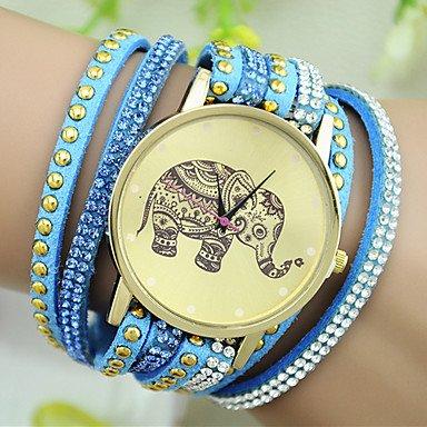 XKC-watches Relojes de Mujer, Reloj Pulsera patrón de Remaches de Diamantes de imitación de la Moda del Elefante del Estilo Europeo de Las Mujeres (Color : Azul)