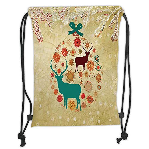Fashion Printed Drawstring Backpacks Bags,Christmas Decorations,Reindeer and Snowflakes in Abstract Balls Ornament Vintage Paper Art Image,Beige Soft Satin,5 Liter Capacity,Adjustable String Closu