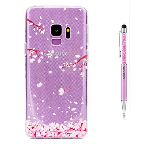 Grandoin Galaxy S9 HandyHülle, Süßes Muster Transparent Ultra Dünn Weiche TPU Silikon Schutz Handy Hülle Handytasche HandyHülle Etui Schale Schutzhülle Case Cover für Samsung Galaxy S9 - Kirschblüten